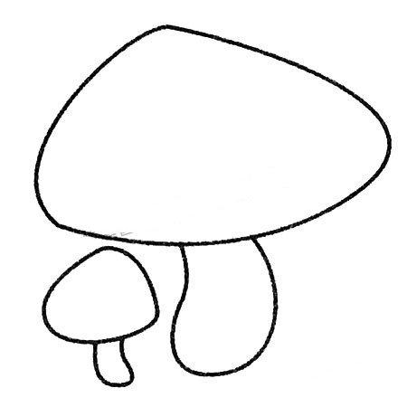 2.再画两个蘑菇柄。