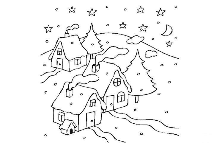 下雪天里的房屋填色画3
