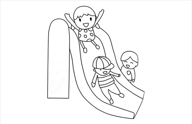 三个小朋友在玩滑滑梯的简笔画图片