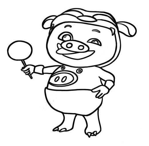 猪猪侠吃棒棒糖简笔画图片