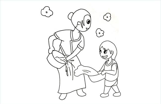 大人和儿童欢度泼水节简笔画图片