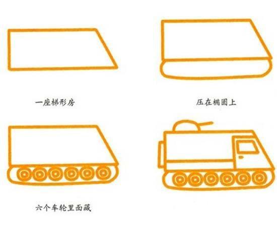 坦克简笔画画法教程:如何画坦克