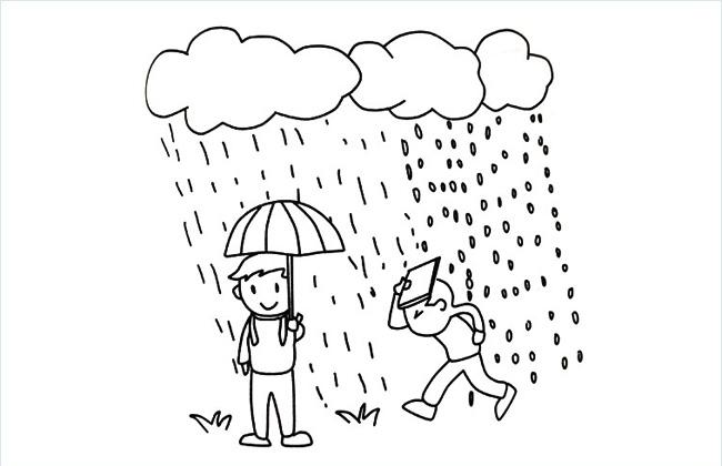下雨天气简笔画图片