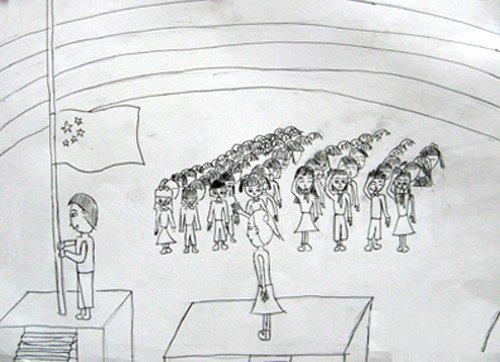 小学生升旗仪式简笔画图片