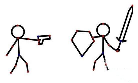 火柴人拿武器打架简笔画图片