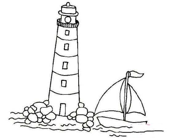 儿童航海灯塔简笔画图片