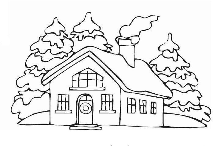 下雪天里的房屋填色画4