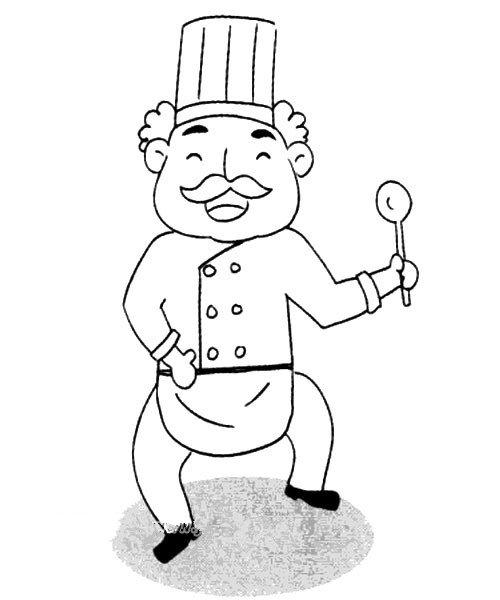 开心的厨师简笔画图片