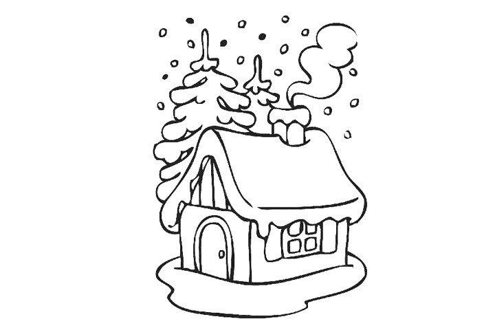 下雪天里的房屋填色画1