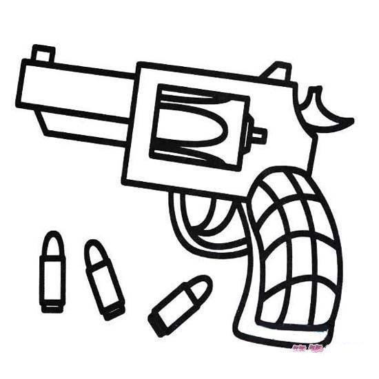 手枪子弹简笔画图片